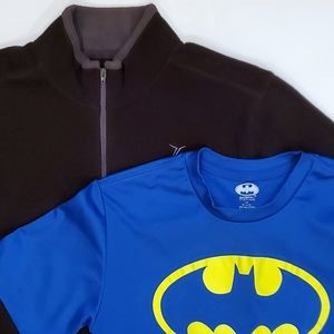 Fleece Pullover and Batman T-shirt